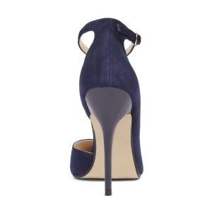 Navy Ankle Strap Stiletto Heel Pumps