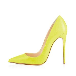 Yellow Pointy Toe Stiletto Heels Pumps for Female