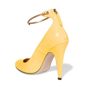 Yellow Ankle Strap Heels Closed Toe Cone Heel Pumps for Ladies