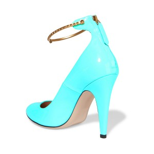 Aqua Shoes Patent Leather Cone Heel Ankle Strap Pumps by FSJ