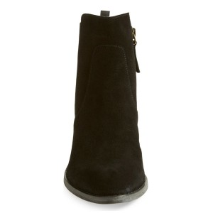 Leila Black Suede Side Zipper Boots