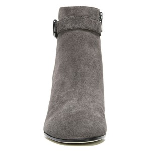Women's Grey Side Suede Buckle Ankle Chunky Heel Boots