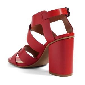 Women's Red Buckle Chunky Heels Open Toe Strappy Sandals