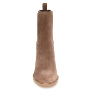Light Brown Suede Wooden Heel Boots