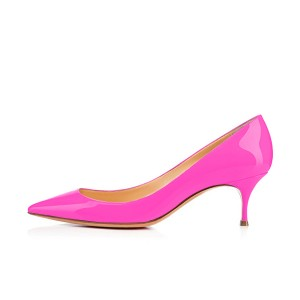 Hot Pink Kitten Heels Dress Shoes Pointy Toe Patent Leather Pumps