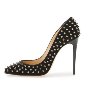 Leila Black Silver Rivets Stiletto Heel Pumps