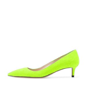 Lime Green Kitten Heels Pointy Toe Suede Pumps