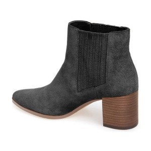 Women's Black Simple Pointed Toe Ankle Chunky Heel Boots