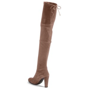 Camel Chunky Heel Boots Round Toe Suede Thigh-high Boots