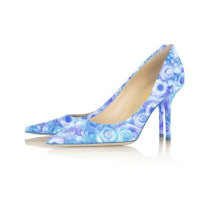 Women's Esther Blue Floral Heels Stiletto Heel Pumps