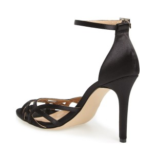 Women's  Black Hollow Out Stiletto Heel Ankle Strap Sandals