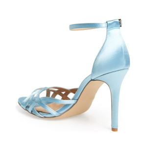 Women's Blue Open Toe Stiletto Heels Ankle Strap Sandals