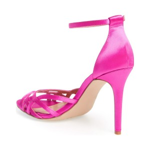 Women's  Deep Pink Open Toe Ankle Strap Sandals