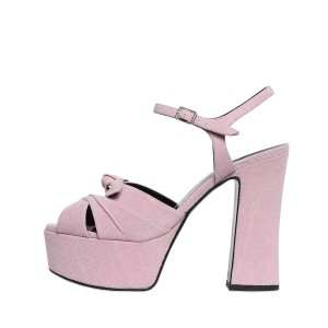 FSJ Pink Chunky Heel Sandals Peep Toe Platform High Heels with Bow
