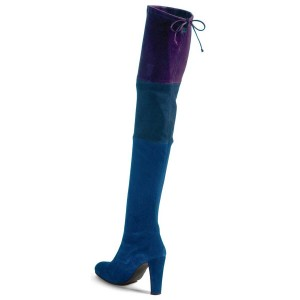 Women's Blue Three Color Stitching Over-The- Knee Chunky Heel Boots