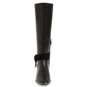 Women's  Black Leather Modern Work Boots Comfortable Shoes