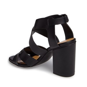 Black Block Heel Sandals Open Toe Cross-over Strap Summer Sandals