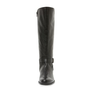 Black Round Toe Buckles Low Heel Textured Vegan Leather Riding Boots