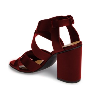 Women's Burgundy Open Toe Buckle Chunky Heel Sandals