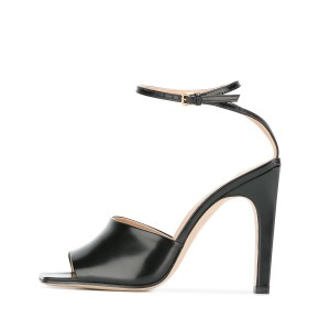 Women's Black Heels Peep Toe Ankle Strap Sandals