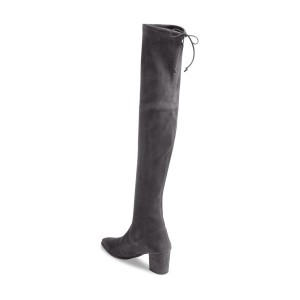 Dark Grey Long Boots Suede Chunky Heel Thigh-high Boots