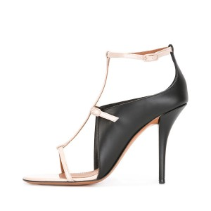 Black and White Heels T-strap Sandals Stiletto Heels Formal Shoes