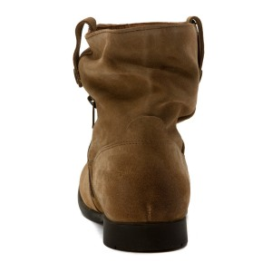 Khaki Slouch Boots Suede Flat Vintage Mid-calf Boots