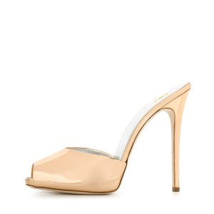 Rose Golden Peep Toe 4 inch Stiletto Heel Mule Sandals