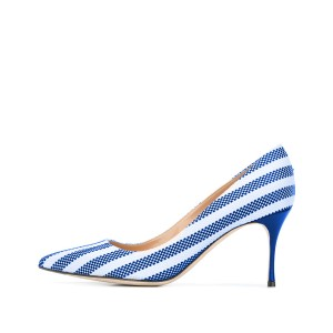 Women's Blue and White Plaid Low-cut Uppers Pointed Toe Pumps Shoes