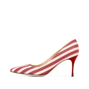Red and White Stripes 3 Inch Heels Pointed Toe Pumps