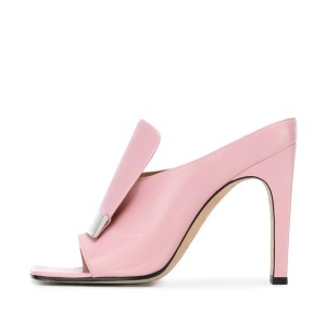 FSJ Pink Mule Heels Open Toe Chunky Heels for Office Lady