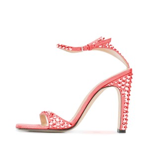 Red Prom Shoes Rhinestone Ankle Strap Chunky Hee Sandals Evening Shoes