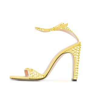 Yellow Prom Shoes Ankle Strap Rhinestone Chunky Heel Sandals