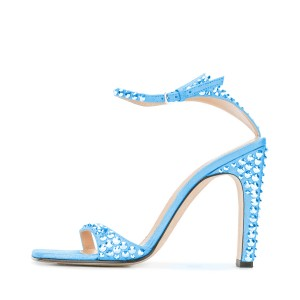 Blue Heels Glitter Rivets Women's Formal Shoes Bridal Shoes