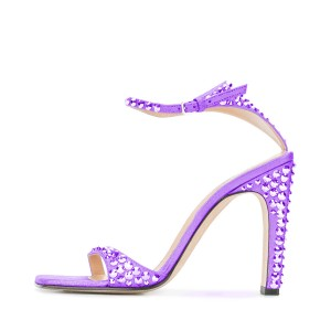 Purple Prom Shoes Rhinestone Ankle Strap Chunky Heel Sandals