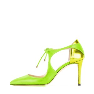 Women's Green Lace-up Pointed Toe Stiletto Heels Sandals