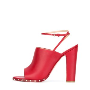 Women's Red Slingback Pumps Rivets Chunky Heels Form Shoes