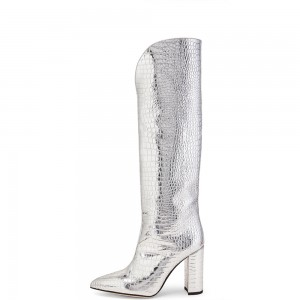 Silver Chunky Heel Boots Pointed Toe Knee High Boots