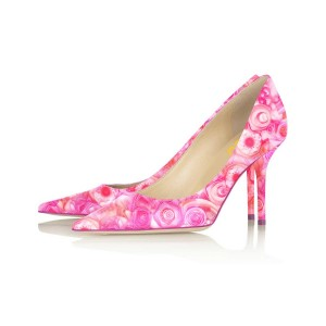 Pink Floral Heels Pointy Toe Women's Stiletto Heels Pumps