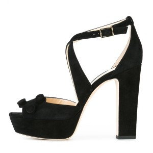 Suede Block Heel Sandals Black Peep Toe Platform High Heels Shoes