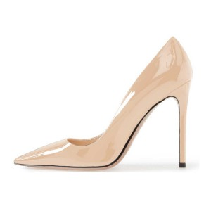 Nude Pointy Toe  Patent Leather Low-cut Stiletto Heel Pumps