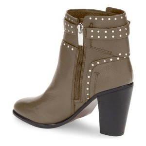 Women's Brown Chunky heel Boots Silver Studs Ankle Boots