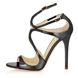 Women's Strappy Sandals Dark Grey Mirror Leather Stiletto Heels by FSJ