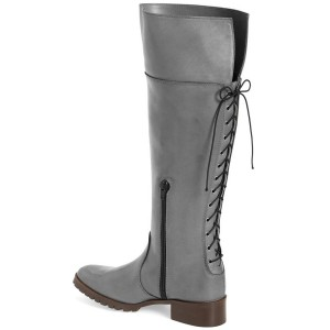 Grey Fashion Boots Round Toe Flat Knee-high Riding Boots