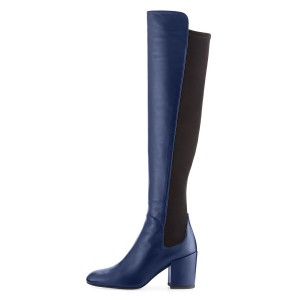Navy Long Boots Square Toe Over-the-knee Chunky Heels