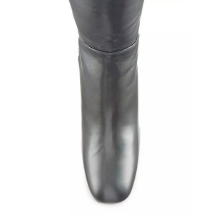 Dark Silver Long Boots Square Toe Over-the-knee Chunky Heels