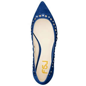 Esther Blue Silver Studs Embellishment Flats