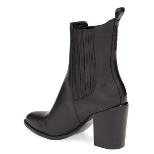 Black Block Heel Boots Pointy Toe Commuting Chelsea Boots