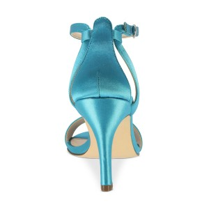 Esther Blue Satin Ankle Strap Open Toe Stiletto Heel Sandals