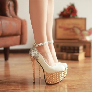 Ivory and Gold Stripper Heels Glitter Ankle Strap Platform Pumps